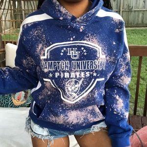 Tops - Hampton University Pirates Custom Bleached Hoodie